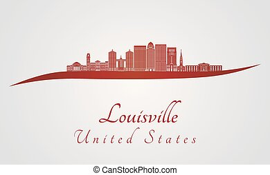 Louisville V2 skyline in red - Louisville skyline in red and...