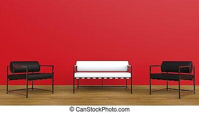 lounge, 2, vermelho
