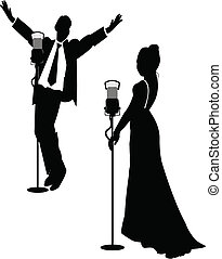 female and male singer on stage in silhouette