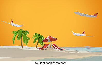 lounge and umbrella on sand beach island and airplanes 3d-illustration