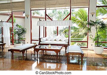 Lounge area at the lobby of luxury hotel, Bentota, Sri Lanka