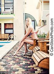 lounge, biquíni, mulher, swimsuit, sentando