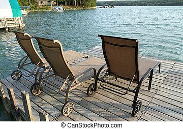 lounge, cadeiras, sentando, ligado, um, doca