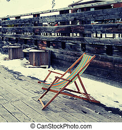 lounge chair at ski resort(Alps)