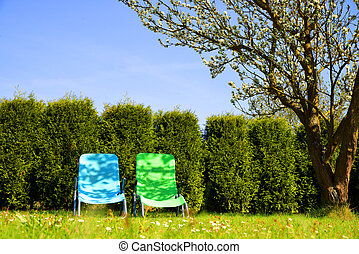 Lounge chairs in a spring garden. - Lounge chairs on grass...