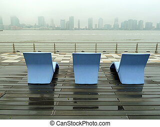 lounge chairs looking towards new Jersey