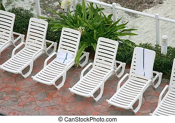 Lounge chairs on a patio