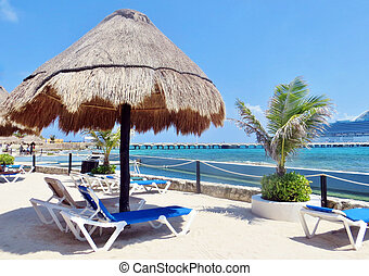 Lounge chairs on the beach - Lounge chairs and umbrellas on...