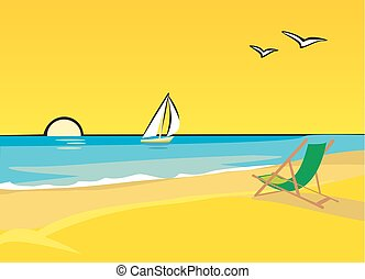 Lounge chairs on the beach. Yacht floating on the sea