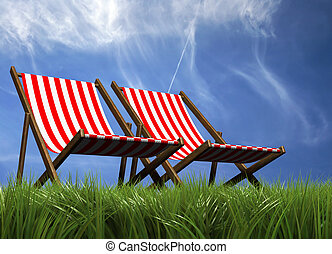 Lounge chairs - Two lounge chairs in grass - rendered in 3d