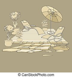 Lounge chairs under patio umbrella and flowers in pot. - ...