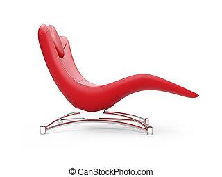lounge, chaise, sobre, branco vermelho