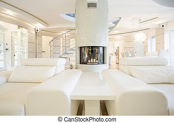 lounge, com, lareira