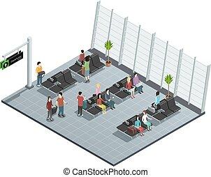 lounge, composição, aeroporto, isometric, partida
