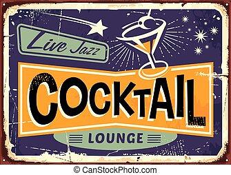 lounge, desenho, retro, coquetel, sinal