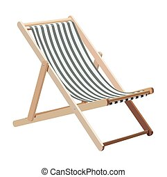 Lounge - Wooden chaise lounge on a white background