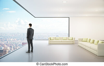 Lounge interior with city view