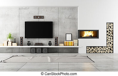lounge, lareira, contemporâneo