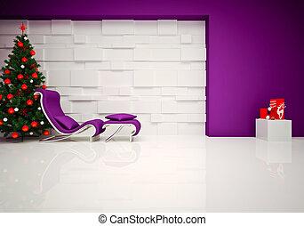 lounge, natal, &, sala, relaxe