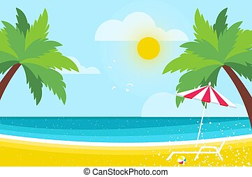 Lounge on Seashore. Parasol under the palm tree. Beach chair with sea. Time to travel. Tropical summer holidays. Flat.