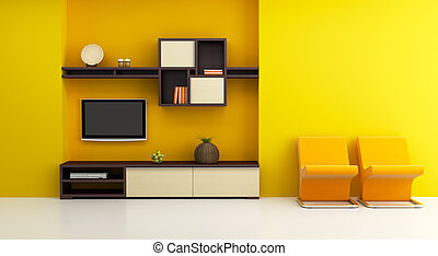 lounge room interior with bookshelf and TV 3d rendering