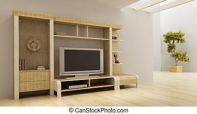 3d interior with modern bookshelf with TV