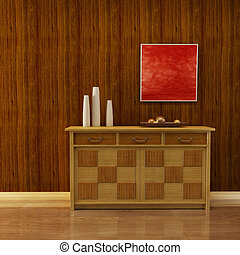 3d interior with classic cupboard beside wooden wall