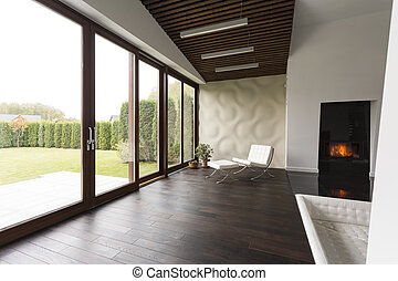 Lounge room with fireplace