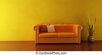 lounge room with leather couch - 3d interior with modern...