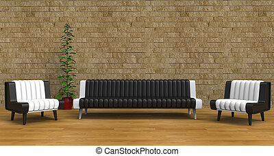 Lounge Room With Vintage Brick