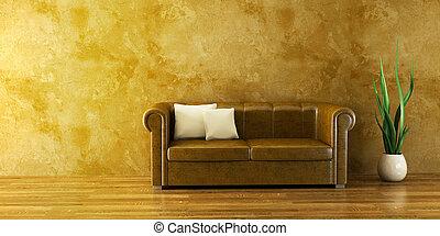 lounge, sala, com, sofá couro