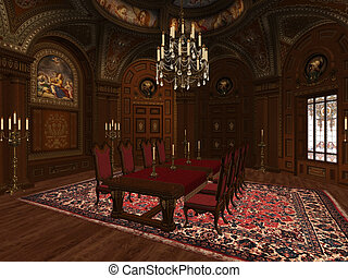 lounge - a dining room in the medieval style