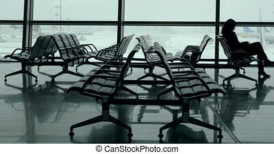 Lounge with passengers in Vnukovo Airport, Moscow