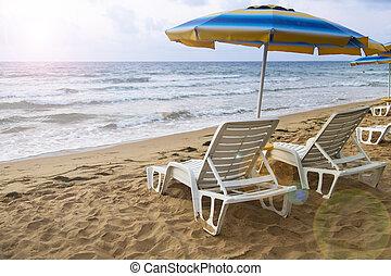 lounger parasol beach sea sky