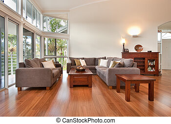 Loungeroom decor - A beautiful modern lounge room with rich ...