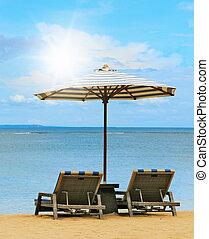 loungers, en, el, orillas, de, el, playa
