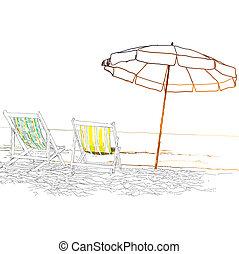 loungers, illustration, côte, abandonné, arrière-plan., vecteur, sea., paire, plage blanche