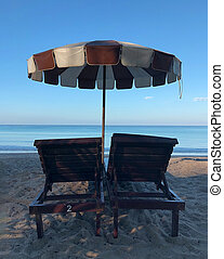 loungers on the beach in Phuket