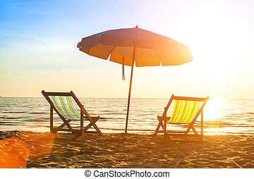 loungers, sunrise., costa, desertado, mar, praia
