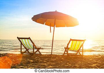 loungers, sunrise., kust, verlaten, zee, strand