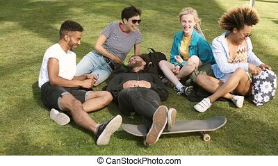 Lounging friends on meadow in park - Happy stylish...