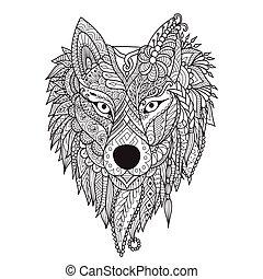 loup, art, ligne