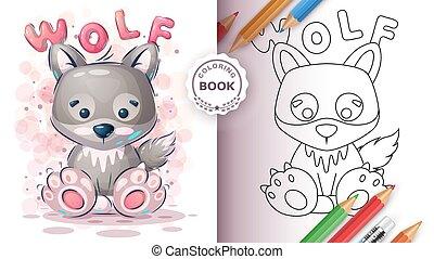 loup, enfants, mignon, coloration, gosse, -, livre