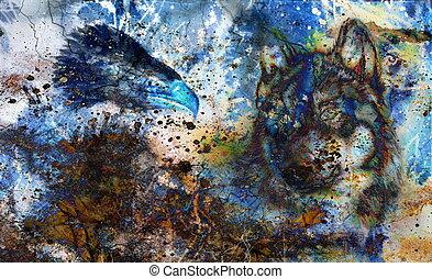 couleur aigle plumes multicolore fond loup peinture illustration de stock rechercher. Black Bedroom Furniture Sets. Home Design Ideas