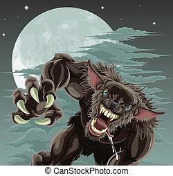 loup-garou, illustration, lune