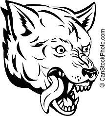 loup, lupus, canis, ou, fâché, noir, blanc, tête, mascotte, ...