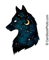 loup, silhouette, étoiles, lune