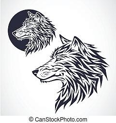 loup, tribal, emblème