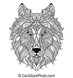 loup, zentangle, page., coloration, tête, stylisé