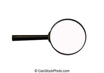 loupe, ampliar, aumente, isolado, vidro, branca, magnificar